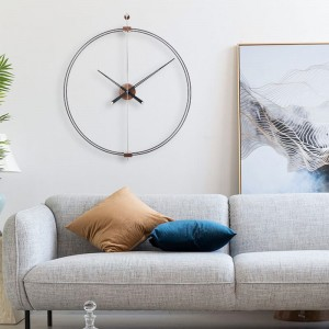 Spain Minimalist Walnut Wall Clocks Nordic Living Room Large Double Hoop Wall Clock Home Decor