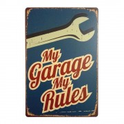 Wall Decoration My Garage My Rules Retro Vintage Metal Garage Tin Signs