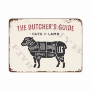 The Butchers Guide Vintage Metal Tin Signs for Kitchen