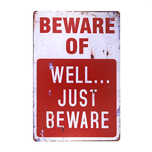 Custom Wholesale Vintage Beware of Metal Tin Plaques Poster Signs