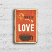 Personalised Rustic Vintage Metal Coffee Tin Plaque Poster Signs
