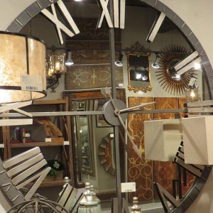 Home Decoration Oversized Modern Round Glass Wall Mirror Clock
