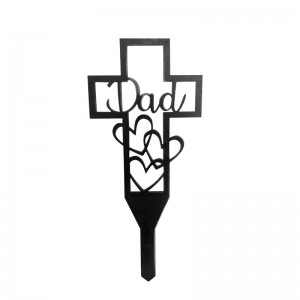 Rip Metal Cross Pile Signs for Deceased Relatives Graveyard Pile Outdoor Decoration