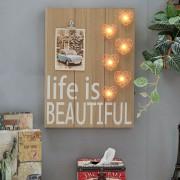 American Retro Creative LED Flamingo Restaurant Cafe Pendant Wood Decorative Painting